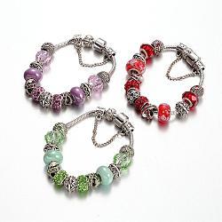 Bracelets en alliage avec perles européennes avec strass, avec des perles de verre et chaîne en laiton, couleur mixte, 190mm(BJEW-L602-13)