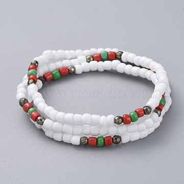 Three Loops Stretch Wrap Bracelets, with Glass Seed Beads and Natural Pyrite Beads, White, 21.3 inches(54cm)(BJEW-JB05018-01)