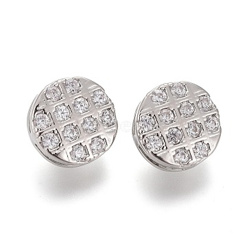 Brass Micro Pave Clear Cubic Zirconia Shank Buttons, Flat Round, Platinum, 10x6mm, Hole: 1.4mm(KK-H738-24P)