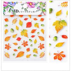 5d stickers nail art autocollants transfert de l'eau, feuille, colorées, 8.2x6.4 cm(MRMJ-S008-084F)