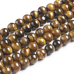 Natural Tiger Eye Beads Strands, Round, Grade B, 10mm, Hole: 1mm, about 40pcs/strand
