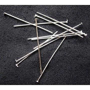 Iron Flat Head Pins, Cadmium Free & Lead Free, Silver Color Plated, Size: about 2.8cm long, 0.75~0.8mm thick(X-HPS2.8cm)