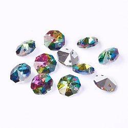 Pendentifs en verre, cristal d'imitation, octogone, facette, magenta, 14x14x7mm, Trou: 1.5mm(X-G06E5021)