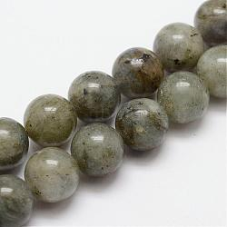 Natural Labradorite Bead Strands, Round, 4mm, Hole: 1mm; about 47pcs/strand, 7.7inches(G-O155-05B-4mm)