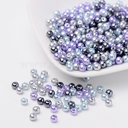 Silver-Grey Mix Pearlized Glass Pearl Beads, Mixed Color, 4mm, Hole: 1mm; about 400pcs/bag