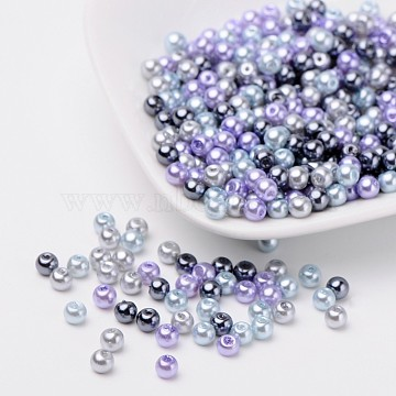Silver-Grey Mix Pearlized Glass Pearl Beads, Mixed Color, 4mm, Hole: 1mm; about 400pcs/bag(HY-X006-4mm-13)