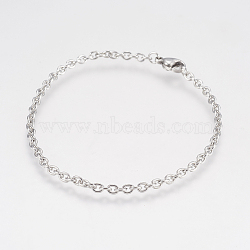 304 Stainless Steel Cable Chain Bracelets, with Lobster Claw Clasps, Stainless Steel Color, 7-1/2