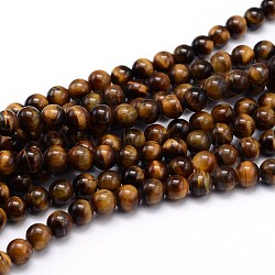 Natural Tiger Eye Beads Strands, Grade A, Round, 6mm, Hole: 1mm; about 60pcs/strand, 15inches