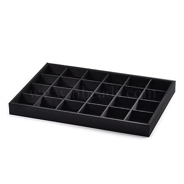Wooden Cuboid Jewelry Presentation Boxes, Covered with Cloth, 24 Compertments, Black, 35x24x3cm(ODIS-N021-03)