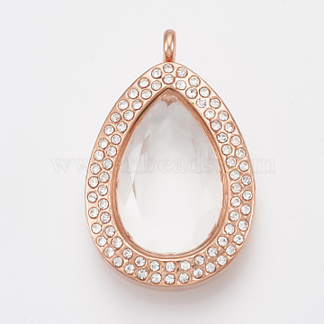 Alloy Magnetic Locket Pendants, with Rhinestone and Glass, Teardrop, Faceted, Crystal, Rose Gold, 46x29.5x15mm, Hole: 4mm; Inner Measure: 25.5x16mm(PALLOY-T052-27RG)