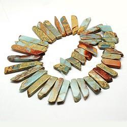 "Jetons naturels perles aqua terra jasper brins, teint, 22~58x9~10x5~6mm, trou: 1 mm; 15.7""; environ 5 brins / kg(G-N0131-18)"