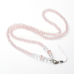 Glass Crystal Beaded Mobile Straps, with Iron Lobster Clasp, Platinum, Bisque, 18.1 inches(MOBA-G063-01)