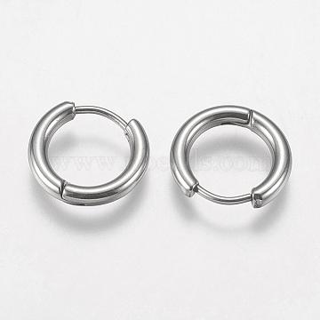 304 Stainless Steel Huggie Hoop Earring Findings, Stainless Steel Color, 10 Gauge, 14x15x2.5mm; Pin: 0.9mm(STAS-I097-051C)