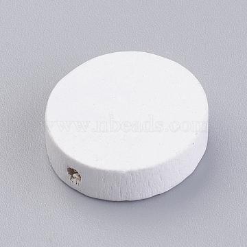 20mm White Flat Round Wood Beads