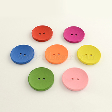 2-Hole Flat Round Wooden Buttons, Dyed, Mixed Color, 30x5mm, Hole: 3.5mm; about 300pcs/500g(BUTT-Q032-62D)