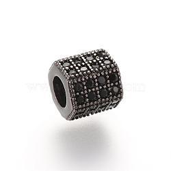 Perles de zircone cubique micro pave en Laiton, hexagone, gunmetal, 7x8x7mm, Trou: 4mm(ZIRC-S053-YS012B-3)