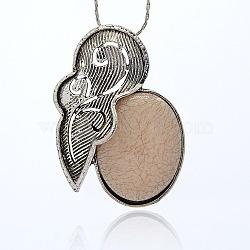 Résine d'alliage d'argent antique ovales grands pendentifs, accessoires de pendentif collier vintage, peachpuff, 65.5x47x11mm, Trou: 6x8mm(TIBE-M001-122)