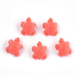 Perles de corail synthétiques, teint, tortue de mer, tomate, 12x10x5.5mm, Trou: 1.2mm(CORA-S026-13H)