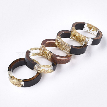 Epoxy Resin & Ebony Wood  Rings, with Gold Foil, Goldenrod, 17mm(RJEW-S043-05B-01)