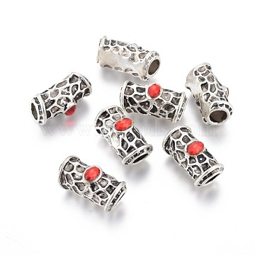 Antique Silver Plated Alloy Beads, with Acrylic Rhinestone, Tube, Red, 22.5x11x12mm, Hole: 7x6mm(PALLOY-L225-A02-AS)