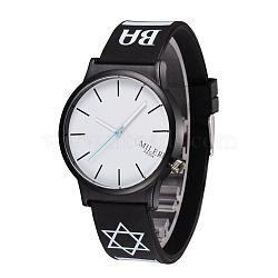 Leather Quartz Wristwatches, with Alloy Watch Head, Black, 245x20mm; Watch Head: 48x43x9mm(X-WACH-O008-22F)