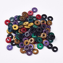 Coconut Beads, Dyed ,Flat Round, Mixed Color, 12~15x2~5mm, Hole: 4.5~5mm(X-COCO-P002-02)