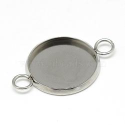 304 настройки разъема кабошона из нержавеющей стали, чашки безель с краем, плоские круглые, нержавеющая сталь цвет, лоток: 16 mm, 23x17.5x2 mm, отверстия: 1.8 mm(X-STAS-T008-135)