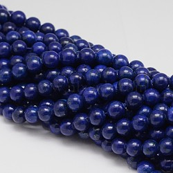 Dyed Round Natural Lapis Lazuli Beads Strands, 8mm, Hole: 1mm; about 48pcs/strand, 15.5