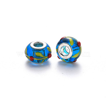Handmade Lampwork European Beads, Bumpy, Large Hole Rondelle Beads, with Platinum Tone Brass Double Cores, Rondelle, Dodger Blue, 14~15x9~10mm, Hole: 5mm(LPDL-N001-045-C04)