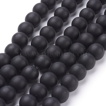 Synthetic Black Stone Beads Strands, Frosted, Round, Black, 10mm, Hole: 0.8mm, about 39pcs/strand, 15.5 inches(X-G508-2)