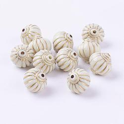 lanterne imiter des perles de résine blanc crème, 14x14x14 mm(X-RESI-M096)