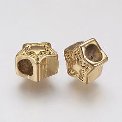 Supports de strass de perles européennes en 304 acier inoxydable, Perles avec un grand trou   , étoiles, or, 11x11x8mm, trou: 4.5 mm; apte à 1 mm strass(STAS-J022-031G)