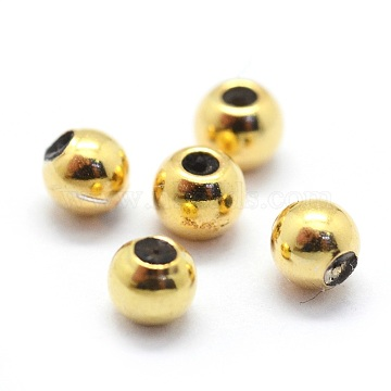 Sterling Silver Bead Spacers, with Rubber Inside, Round, Golden, 6mm, Hole: 1.2mm(STER-I016-106D-G)