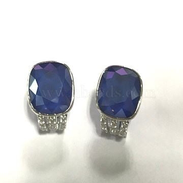925 Sterling Silver Ear Studs, with Austrian Crystal, Blue, Platinum, 16x13mm(EJEW-BB34167)