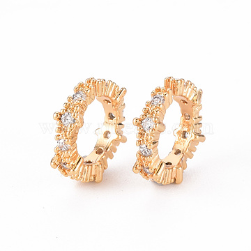 Brass Micro Pave Clear Cubic Zirconia Cuff Earring, Nickel Free, Ring, Real 18K Gold Plated, 13x4mm(EJEW-Q703-004-NF)