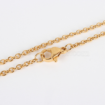 304 Stainless Steel Cable Chain Necklace Making, with Lobster Claw Clasps, Vacuum Plating, Golden, 17.7 inches(45cm), Lobster Claw Clasps: 6x9x3mm(X-STAS-P045-01G-A)