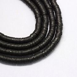 Perles artisanales à l'argile polymère artisanales, disque / rond plat, perles heishi, noir, 6x1 mm, trou: 2 mm; environ 380~400 perle / brin, 17.7(X-CLAY-R067-6.0mm-42)
