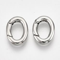Anneau de porte à ressort en 304 acier inoxydable, anneaux ovales, couleur inoxydable, 15.5x11.5x3 mm; diamètre intérieur: 10x6 mm(STAS-S079-88B)