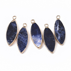 Edge Golden Plated Natural Sodalite Pendants, with Iron Loop, Horse Eye, 28.5~30.5x10.5x3.5mm, Hole: 1.6mm