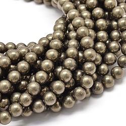 """Chapelets de perles de pyrite naturelle , 8mm, trou: 1mm; environ 48 pcs/chapelet, 15.7""""(G-P075-54-8mm)"""