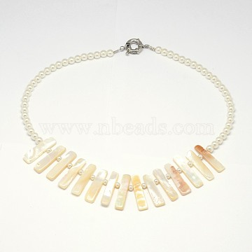 Natural White Mother of Pearl Shell Bib Statement Necklaces, with Glass Pearl Beaded Chain, with Spring Ring Clasps, LightYellow, 18.89inches(NJEW-L096-04)