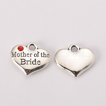 Wedding Theme Antique Silver Tone Tibetan Style Alloy Heart with Mother of the Bride Rhinestone Charms, Cadmium Free & Lead Free, Hyacinth, 14x16x3mm, Hole: 2mm(X-TIBEP-N005-18C)