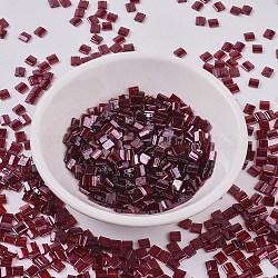 Perles de tila miyuki®, Perles de rocaille japonais, 2-trou, (tl304) grenat lustre doré, 5x4.5x2mm, trou: 0.7 mm; sur 118 pcs / bouteille, 10 g / bouteille(SEED-JP0008-TL0304)