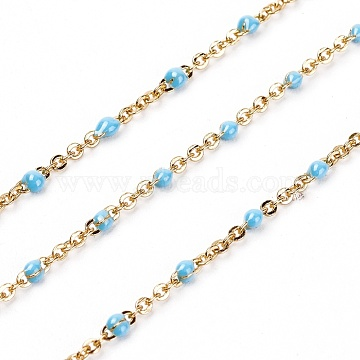 Handmade Enamel Beaded Chains, Brass Cable Chains, Long-Lasting Plated, Soldered, Sky Blue, Real 18K Gold Plated, 1.5mm(X-KK-G355-G02)