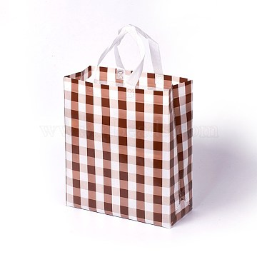 Eco-Friendly Reusable Bags, with Random Color Handles, Non Woven Fabric Shopping Bags, Tartan Pattern, SaddleBrown, 27.5x12.5x32cm(ABAG-L004-M01)