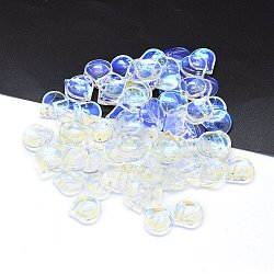 Breloques en verre, pétale, clair, 15x13.5x4mm, Trou: 1.2mm(X-GLAA-H016-05E-14)