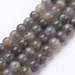 Natural Labradorite Bead Strands, Round, 4mm, Hole: 0.5mm; about 95pcs/strand, 15.3inches(390mm)