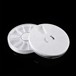 Plastic Nail Art Decoration Storage Box, 12 Compartments, Flat Round, White, 6x1cm(MRMJ-T010-117)