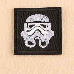 Tissu de broderie informatisé fer/coudre sur les patchs, accessoires de costumes, appliques, carrée, noir, 47x47mm(X-DIY-F038-I10)
