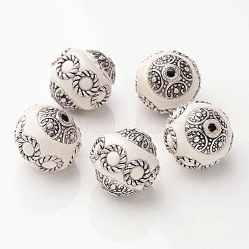 15mm White Round Indonesia Beads